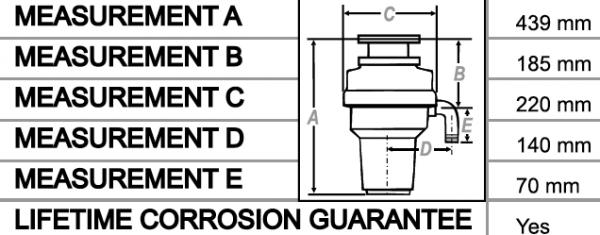 WasteMaid Elite 2080 AS Premium Edition Waste Disposal Unit Inc Air Switch Dimensions